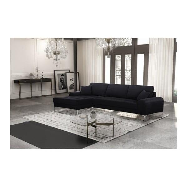 Set canapea neagră cu șezlong pe partea stângă, 4 scaune gri-verde și saltea 160 x 200 cm Home Essentials