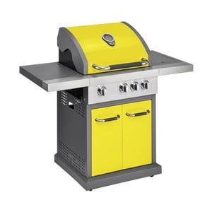 Žlutý plynový gril se 3 samostatně ovladatelnými hořáky, teploměrem a bočním ohřívačem Jamie Oliver Pro