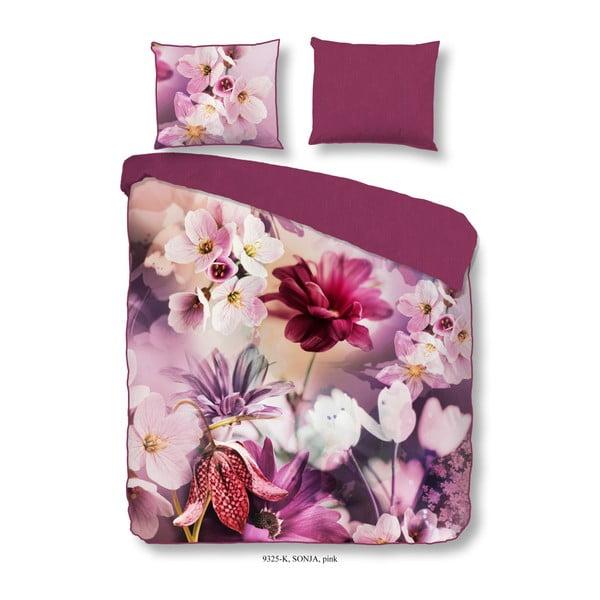 Ružové obliečky z bavlneného saténu na jednolôžko Descanso Sonja Pink, 140×200 cm