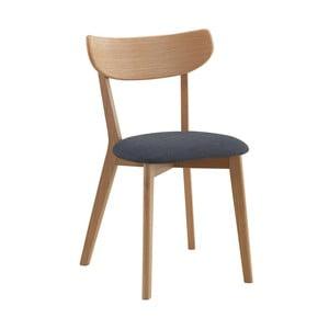 Scaun din lemn de stejar cu șezut gri, culoare naturală,  Folke Sylph