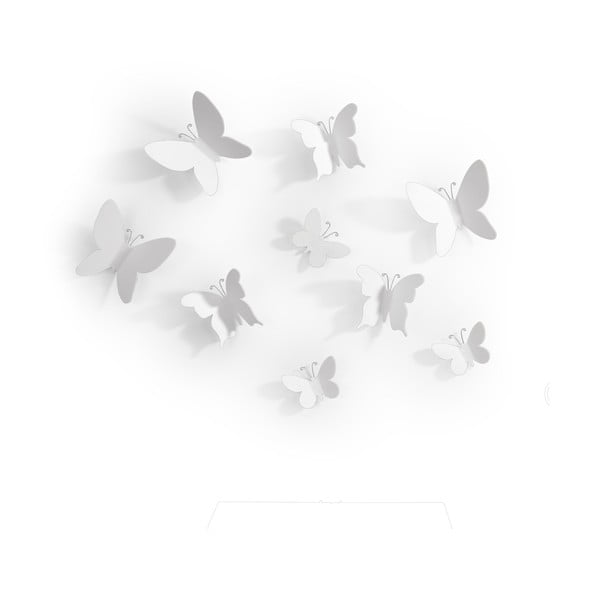 Set 9 decorațiuni 3D de perete Umbra Butterflies, alb