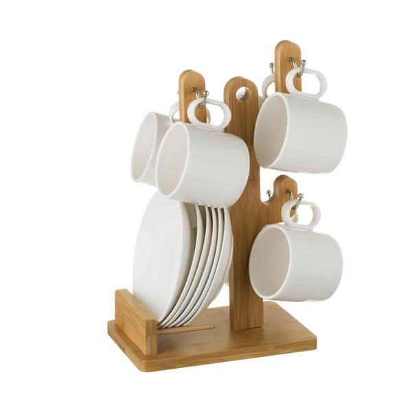Sada 6 čajových šálků s podšálky na bambusovém stojanu Unimasa