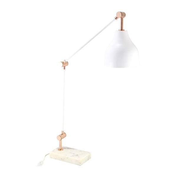 Stolní lampa, bílá/měď