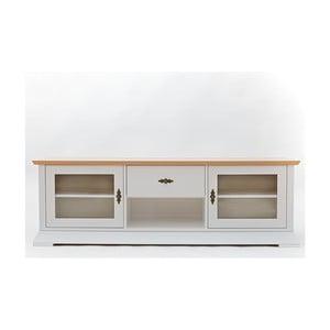 Bílá TV komoda s detaily z dubové dýhy a skleněnými dvířky Wermo Family Liisa
