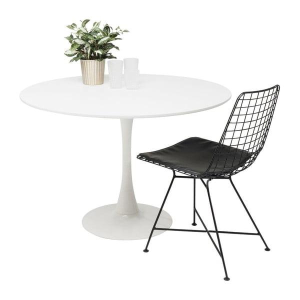 Bílý jídelní stůl s dřevěnou deskou Kare Design Schickeria, ⌀ 110 cm