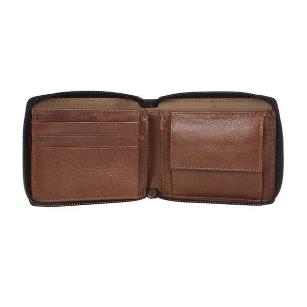 Pánská kožená peněženka Kingsbury' Black/Chestnut Zip-Round Wallet