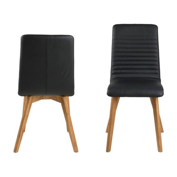 Sada 2 černých kožených židlí Actona Arosa