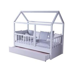 Bílá dětská dvoulůžková postel ve tvaru domečku s další výsuvnou postelí Mezzo My House, 90 x 190 cm