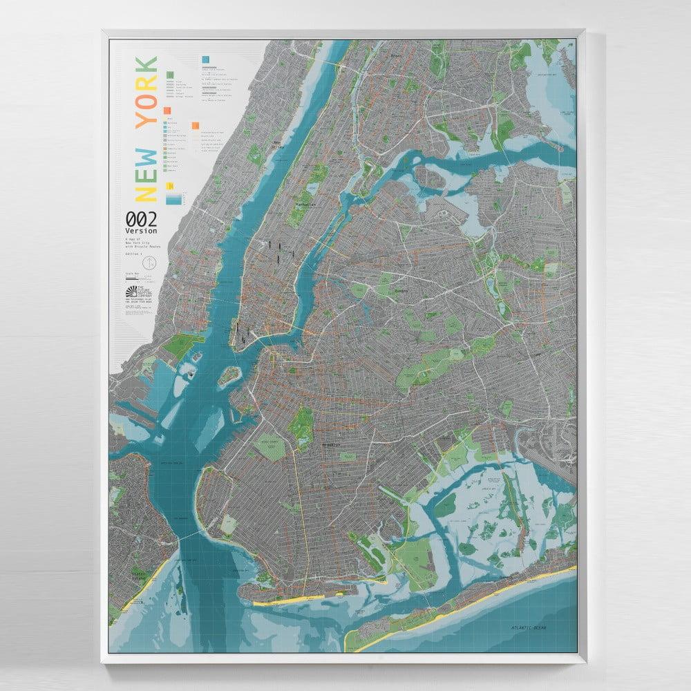 Magnetická mapa New York City Street Map, 130x100cm