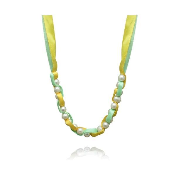 Perlový náhrdelník na zelené stužce Nova Pearls Copenhagen Mara de Vida
