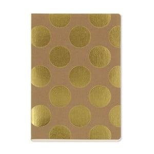 Zápisník A5 GO Stationery Gold Polka Kraft