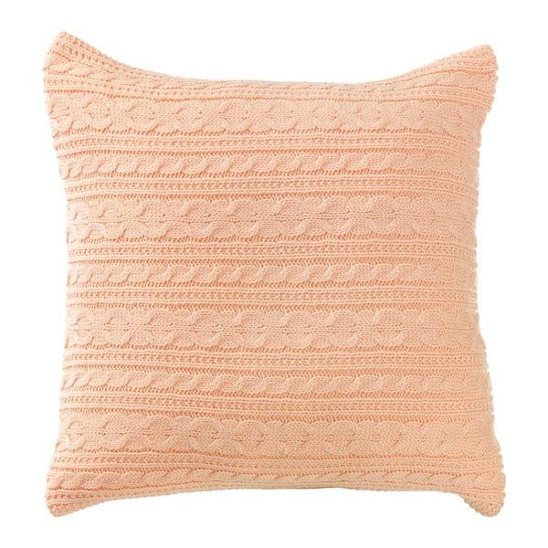 Oranžový pletený povlak na polštář s knoflíky Apolena Peach, 43 x 43 cm