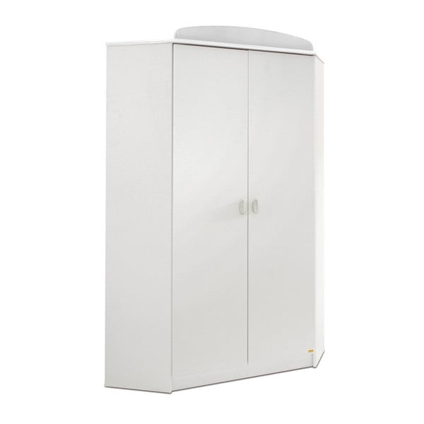 Bílá rohová šatní skříň Faktum Mokus