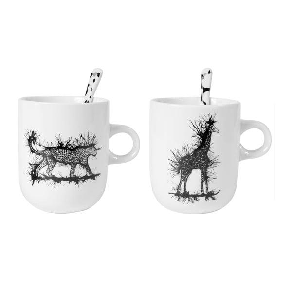 Sada 2 porcelánových hrnků se lžičkami Kilimandjaro Mugs