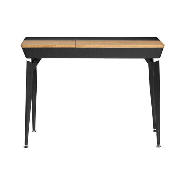 Černý pracovní stůl s úložným prostorem Marckeric Cira