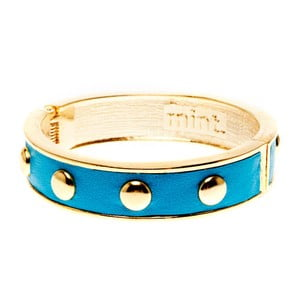Náramek Round stud gold, aqua blue