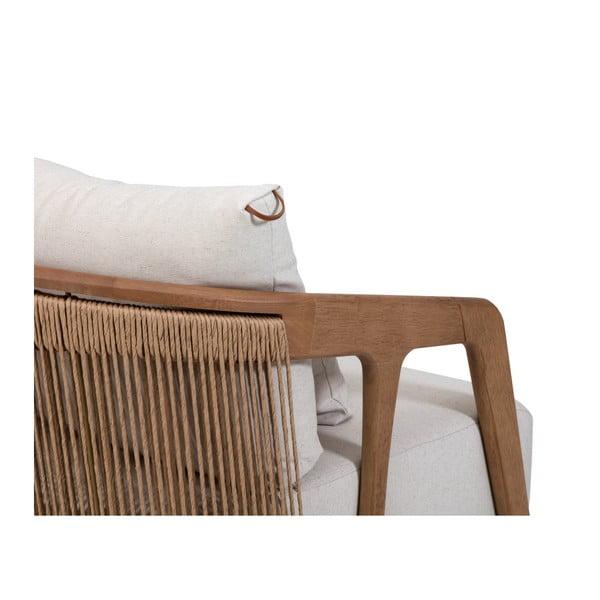 Křeslo s hnědým rámem ze dřeva tauari Marckeric Arpa