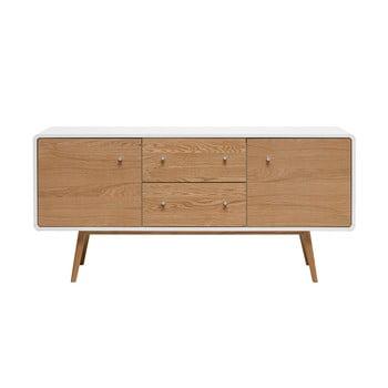 Comodă joasă din lemn de stejar alb Unique Furniture Turin de la Unique Furniture