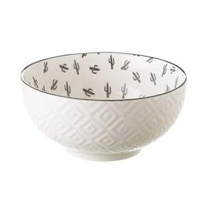 Šedobílá porcelánová miska Unimasa Mini Cactus, průměr14,9cm