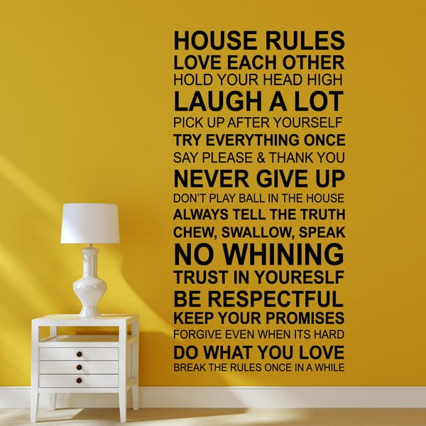 Samolepka na stěnu Domácí pravidla
