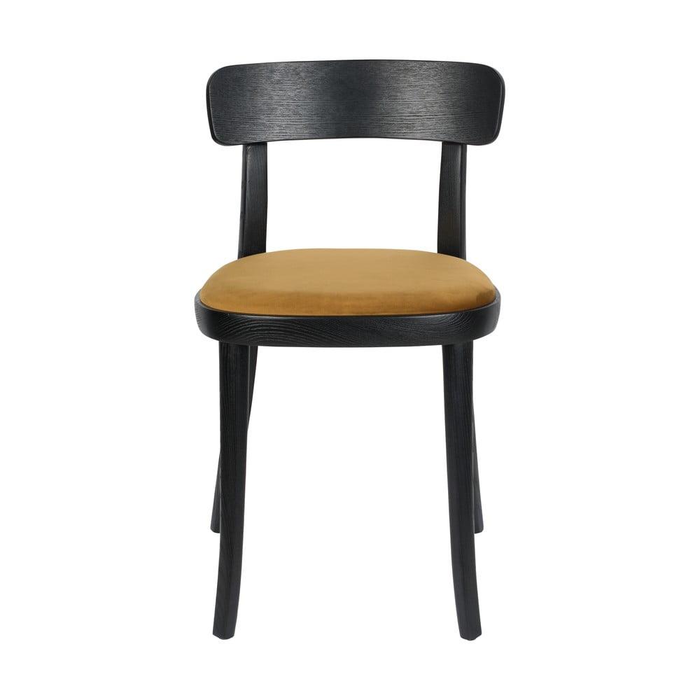 Sada 2 černých jídelních židlí s okrově hnědým podsedákem Dutchbone Brandon