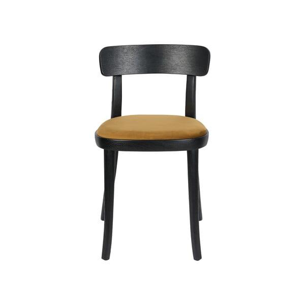 Set 2 scaune cu șezut maro-galben Dutchbone Brandon, negru