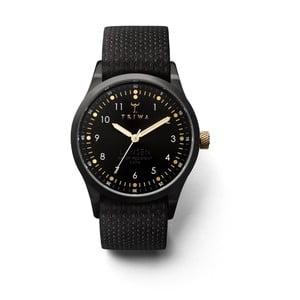 Unisex hodinky s černým koženým řemínkem Triwa Midnight Lansen