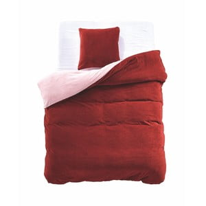 Červeno-béžové oboustranné povlečení z mikrovlákna DecoKing Furry, 135x200cm