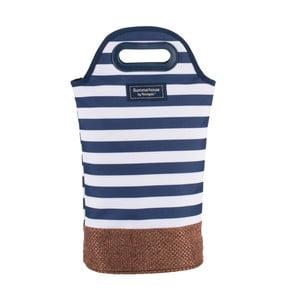Tmavě modrá pruhovaná taška na dvě lahve Navigate