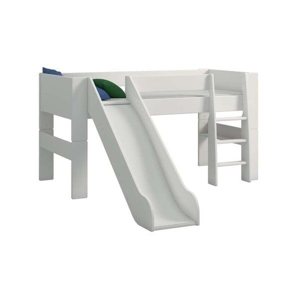 Krémově bílá dětská patrová postel se skluzavkou Steens For Kids, výška 113cm