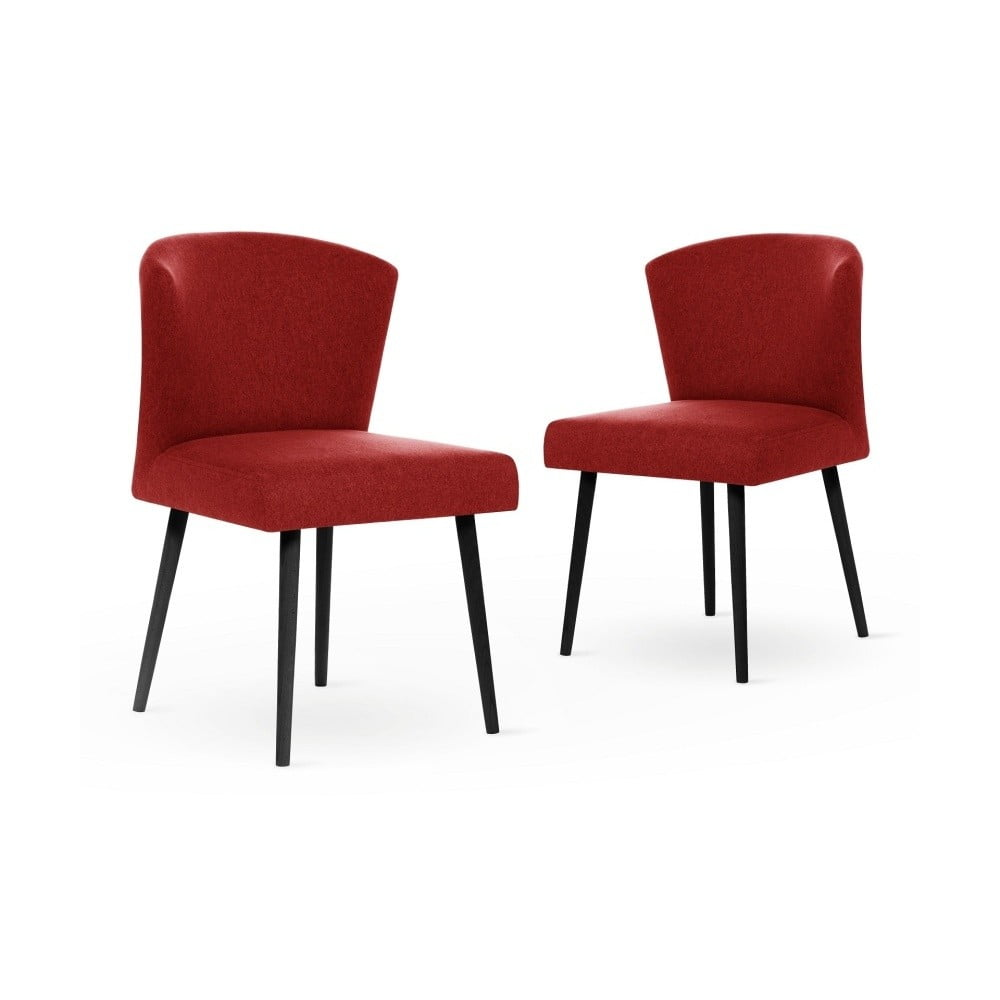 Sada 2 červených židlí s černými nohami My Pop Design Richter