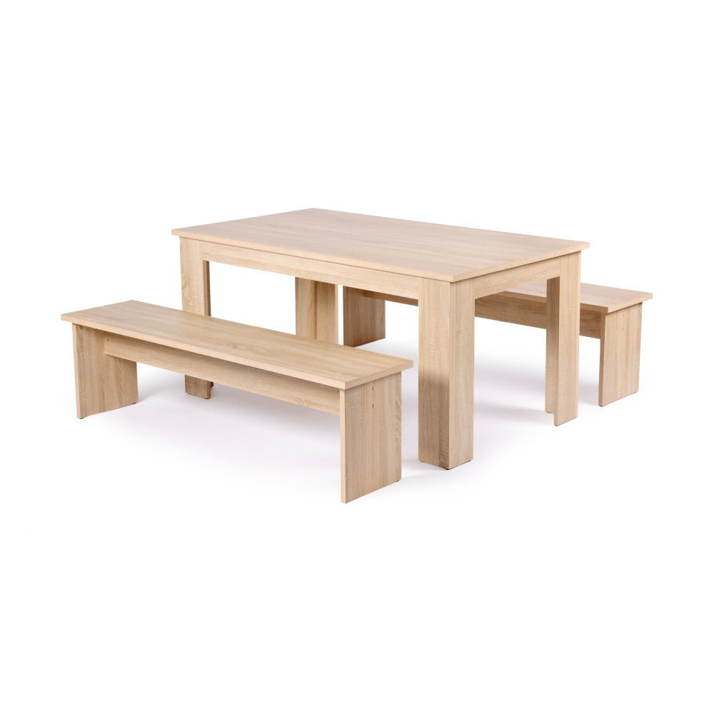 Set jídelního stolu a 2 lavic v dubovém dekoru Intertrade München, 160cm