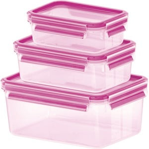 Sada 3 krabiček na jídlo Clip&Close Rapsberry, 0,55+1+2,3 l