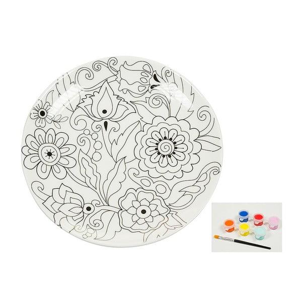 Farfurie din porțelan pentru pictat Santiago Pons Art & Color Flowers