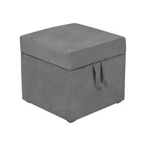 Šedá taburetka s úložným prostorem KICOTI Cube