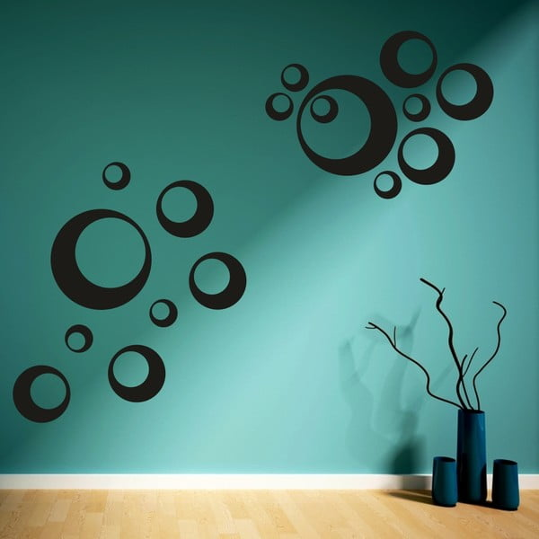 Samolepka na stěnu Sada kruhů, černá