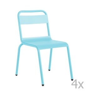 Sada 4 světle modrých zahradních židlí Isimar Biarritz