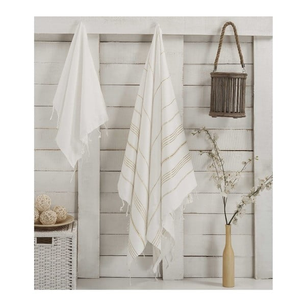 Zestaw 2 ręczników Hammam Sultan White Gold
