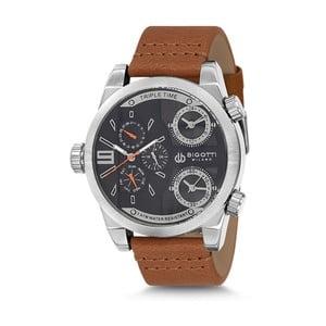 Pánské hodinky s hnědým koženým řemínkem Bigotti Milano Milan