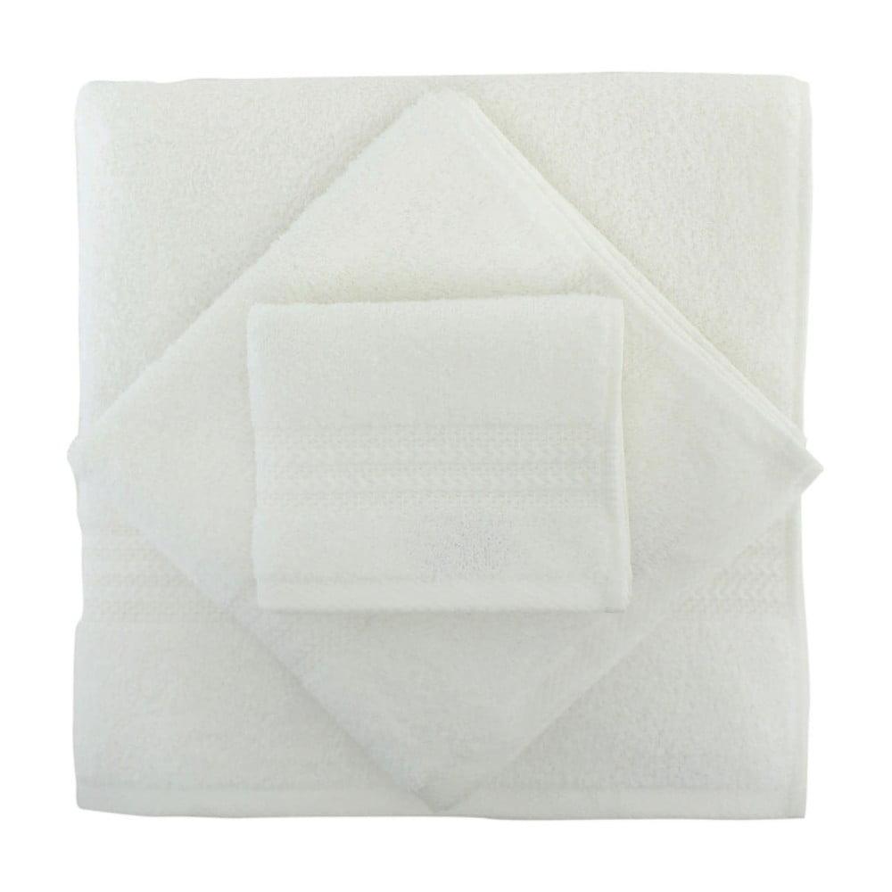 Fotografie Set 2 bílých bavlněných ručníků a osušky Rainbow