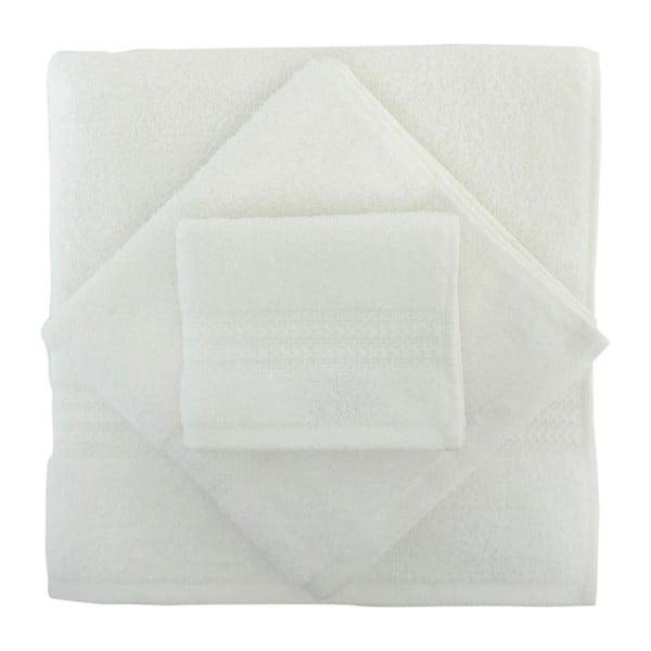 Set 3 bielych bavlnených uterákov a osušky Rainbow