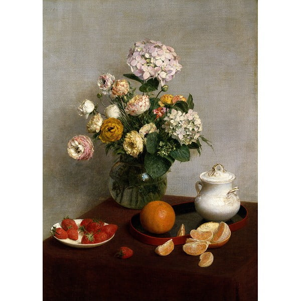 Reprodukcia obrazu Henri Fantin-Latour - Flowers and Fruit, 45 × 60 cm