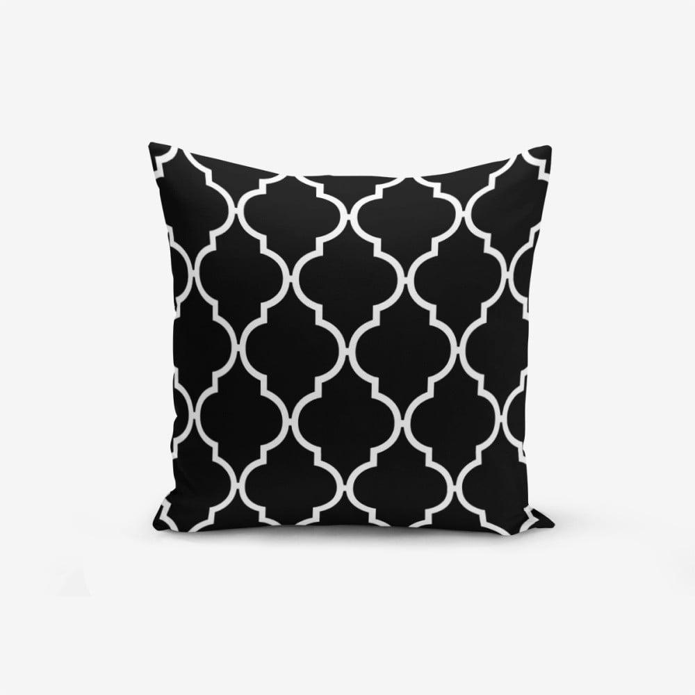 Černo-bílý povlak na polštář s příměsí bavlny Minimalist Cushion Covers Black Background Ogea, 45 x 45 cm