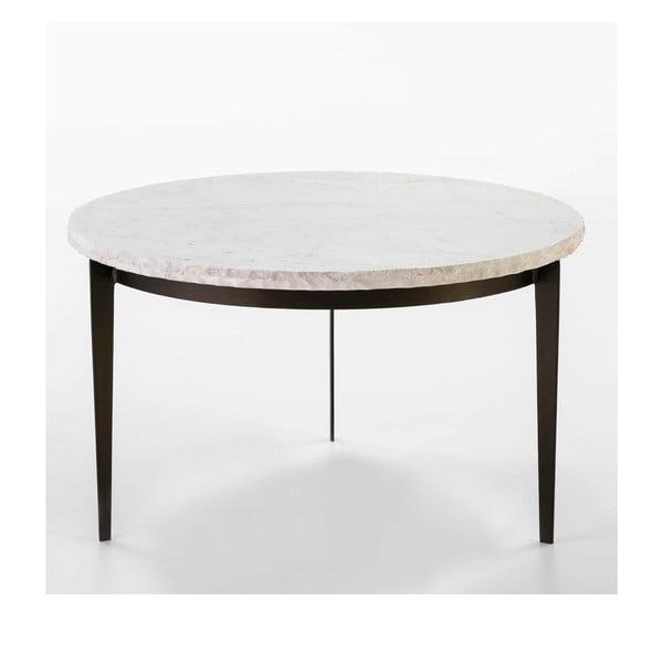 Konferenční stolek s mramorovou deskou a nohami ve tmavě zlaté barvě Thai Natura, , ∅76cm