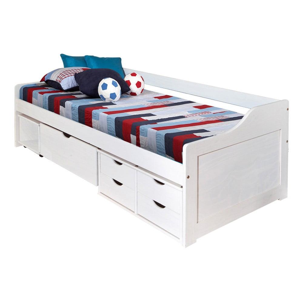 Bílá dřevěná postel s úložným prostorem 13Casa Tetris, 90 x 200 cm