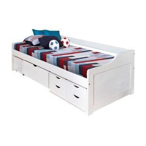 Bílá dřevěná postel s úložným prostorem 13Casa Tetris, 90x200cm