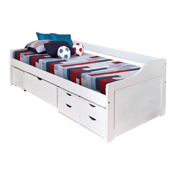 Bílá dřevěná jednolůžková postel s úložným prostorem 13Casa Tetris, 90x200cm