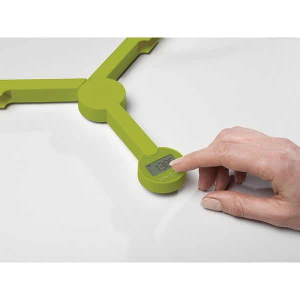 Zelená skládací digitální kuchyňská váha Joseph Joseph TriScale