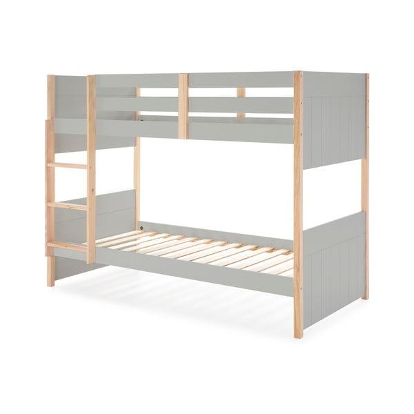 Szare łóżko piętrowe dla dzieci z nogami z drewna sosnowego Marckeric Kiara