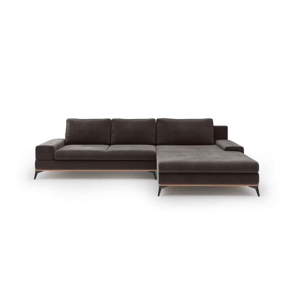 Canapea extensibilă tip colțar cu șezlong pe partea dreaptă Windsor & Co Sofas Astre, maro închis